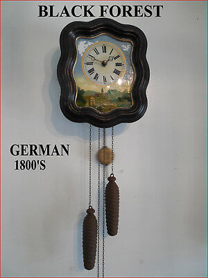 1800's German Black Forest Clock-Reverse Painting Picutre-Awsome Refurbish!