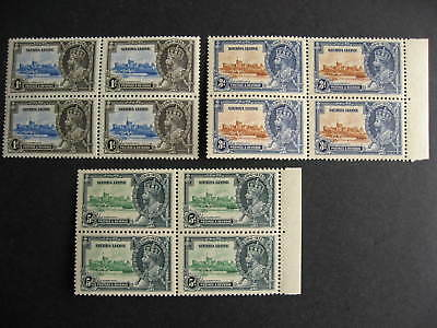 1935 Silver Jubilee Sierra Leone Sc 166-8 3 MNH blocks of 4 check them out!