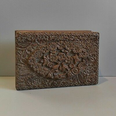 Vintage Antique Ornate Intricately Floral Carved Wood Box