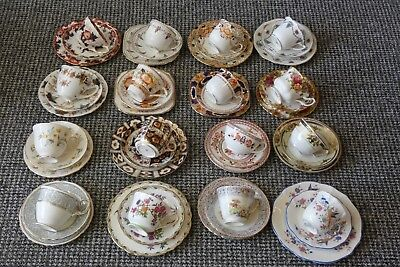 Pretty Vintage Bone China Trios, Cups. Saucers, Plates
