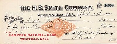 1901 The H.b. Smith Company, Westfield, Massachusetts  W/revenue Stamp