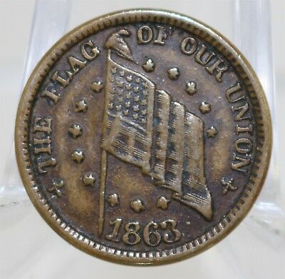 """1863 Civil War Token Flag of our Union """"Shoot Him On The Spot"""""""