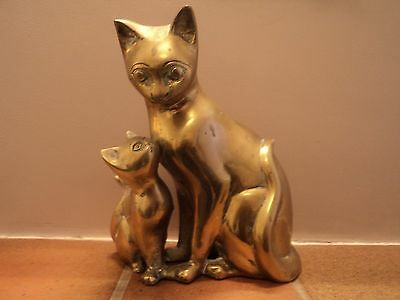 Vintage Very Large Heavy Brass Cast Cat And Kitten Doorstop/display - Gorgeous.