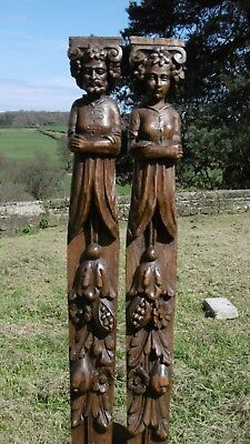 SUPERB PR 19thc OAK CARVED CORBELS OF MALE & FEMALE WITH FLOWER WREATHS