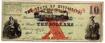 MS-13 CR-35 $5.00 Mississippi Paper Money 1862