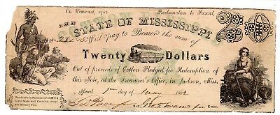 MS-10B CR-16 $20.00 Mississippi Paper Money 1862