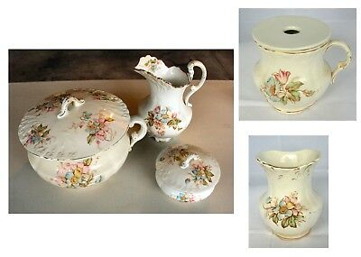 5 Pc. Antique Set Lebeau Porcelain Chamber Pot & Dresser Trinket Box + Vase.