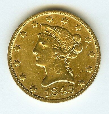 1848-O Liberty Head $10 Gold Eagle  About Uncirculated Low Mintage! Rare!