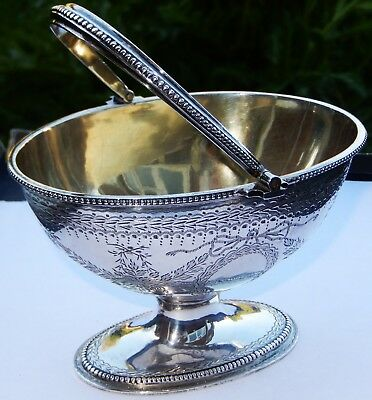 Fine Quality Antique Victorian Solid Silver Sugar Basket in Exc Cond; Lon 1860