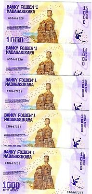 LOT Madagascar, 5 x 1000 Ariary, 2017 P-New UNC > Redesigned, Bridge