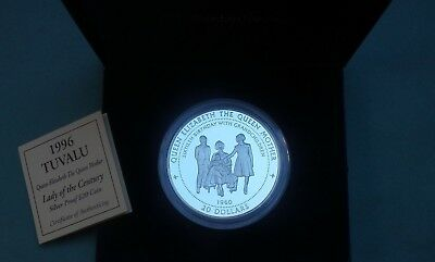 1996  Tuvalu 999 Silver Proof $20 Coin 5 Oz Queen Mother Collection Cased