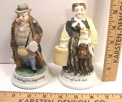 Pr Antique Victorian Fairing Figures Match Striker Traveling Man & Woman Germany