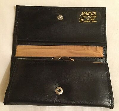 Vintage MARNIK black real leather coin & note bi-fold purse. Made in Cyprus.