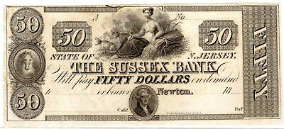 New Jersey - Sussex Bank - $50.00 - 18XX