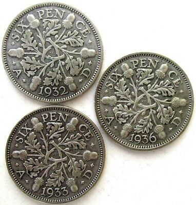 Great Britain Uk Coins, Sixpence 1932 & 1933 & 1936, George V, Silver 0.500