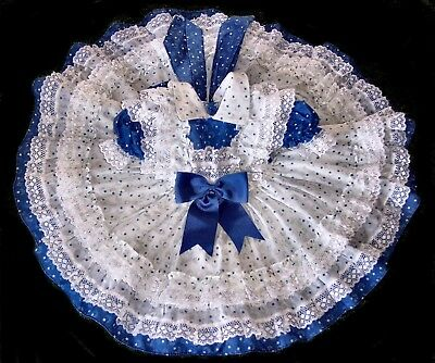 2t vintage 70's girls Blue White MOON and STARS Ruffled lace circle skirt dress