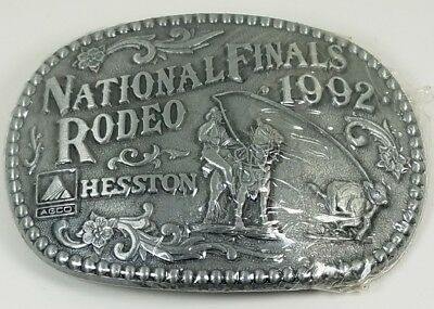 New 1992 National Finals Rodeo Hesston Belt Buckle. New in Package!!