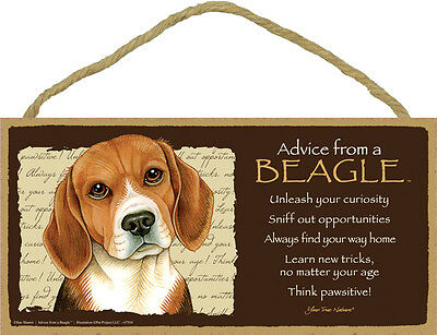 Nice ADVICE FROM A BEAGLE wood SIGN wall hanging NOVELTY PLAQUE puppy dog hound