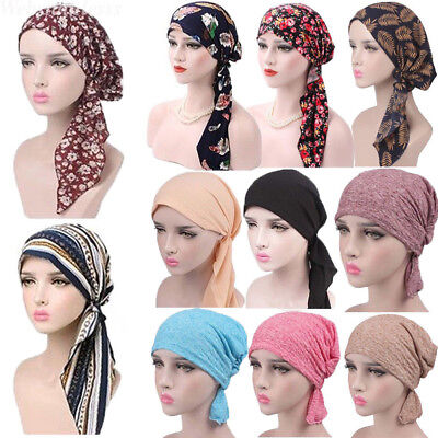 Women's Head Scarf Chemo Hat Bandana Tichel Cancer Turban Pre-Tied Headwear Caps