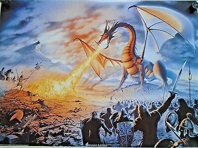 Dragon Battle #SM0046 - Fantasy art - Orig. poster in Exc.+ new cond. / 25 x 35""
