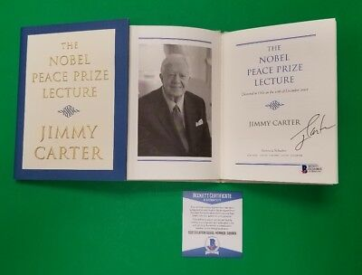 President Jimmy Carter Signed Nobel Peace Prize Lecture Hardcover Book Bas Coa