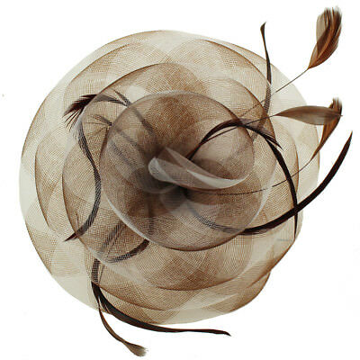 Swirl Floral Feathers Fascinators Headband Millinery Cocktail Derby Hat Brown