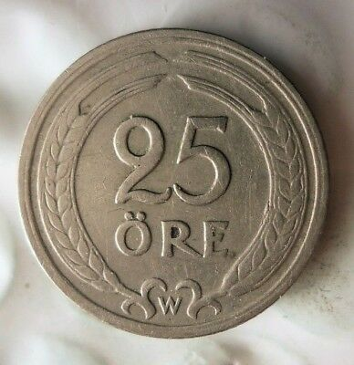 1921 SWEDEN 25 ORE - Excellent Collectible Coin - FREE SHIP - Sweden Bin #2