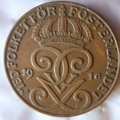 1916 SWEDEN 2 ORE - Excellent Collectible Coin - FREE SHIP - Sweden Bin #2