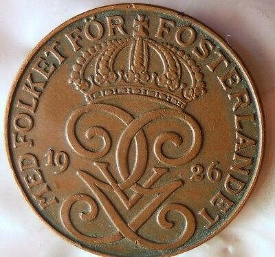 1926 SWEDEN 2 ORE - Excellent Collectible Coin - FREE SHIP - Sweden Bin #2