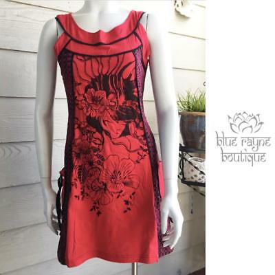 2c2b4f6498 Kathmandu Nepal Pocketed Goddess Print Sundress Tank With Contrast Piping  Red