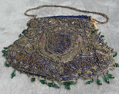 Antique Indian Embroidered Thread & Sequin Purse Bhopal Bank Staff C1900