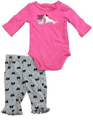 Infant Toddler Girls Pink Sealed With A Kiss Bodysuit & Bow Leggings 2-PC Outfit