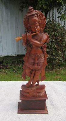 Finest Large Vintage Indian Carved Wooden Krishna Figure - Playing Flute