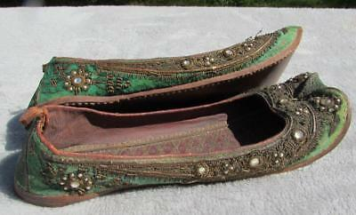 FINE PAIR OF ANTIQUE 19thC INDIAN SHOES - HAND EMBROIDERED LEATHER AND JEWELS