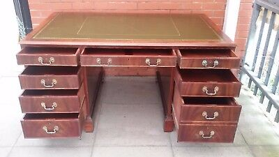 A Large Green Leather Inlay Twin Pedestal Desk ****DELIVERY AVAILABLE***