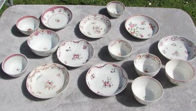 CLEARANCE 15no. CHINESE / ENGLISH 18thC BOWLS SAUCERS - FAMILLE ROSE POLYCHROME