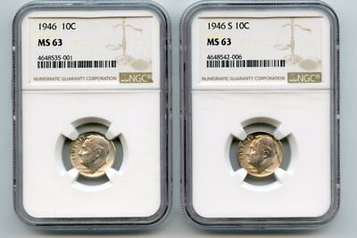 1946/1946-S Roosevelt Dimes (MS 63/MS 63) NGC (Two Coins)