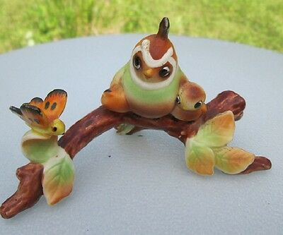 Vintage Ceramic Quail Baby & Butterfly Tree Scene Figurine
