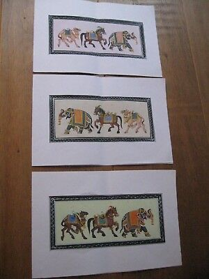 3 Hand Painted Indian Silk Pictures of Elephants, Camels and Horses