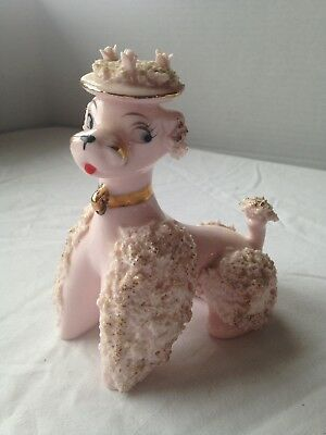 "Vintage Spaghetti Poodle-Pink Poodle Wearing Bonnet Hat 5"" Damage-See Photos"