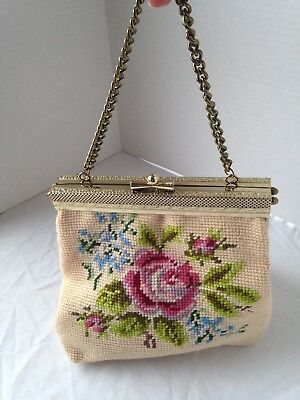 Vintage Needlepoint Handbag Purse with Rose Detail and Gold tone clasp and chain