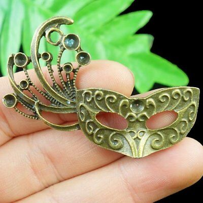 F88821 Carved Brass Bronze Mask Pendant Bead 53x30x3mm