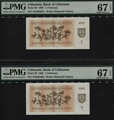 Tt Pk 39 1992 Lithuania 1 (Talonas) Pmg 67 Epq Superb Gem Uncirculated Set Of 2!
