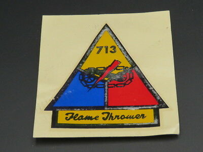 """Extremely Rare Original """"713/flame Thrower"""" Armor Helmet-Liner Decal"""