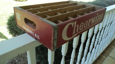 Cheerwine Wooden Soda Bottle Crate Carrier Holder Vintage Wood Great Color Nice