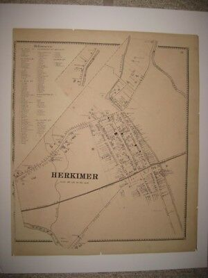 Antique 1868 Herkimer City Herkimer County New York Handcolored Map Detailed Nr