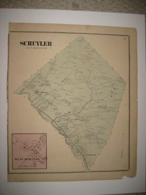 Antique 1868 West & Schuyler Herkimer County New York Handcolored Map Rare Nr