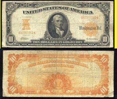 1907 $10.00 Gold Certificate- Scarce- No Reserve