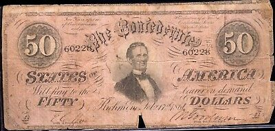 Astounding 1861 Confederate States of America $50 Note EG543