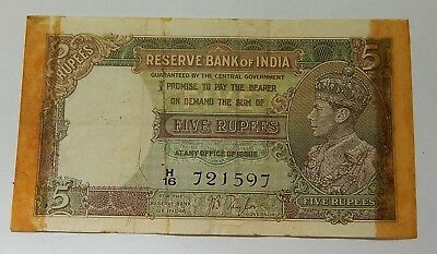1937 (no date) British India 5 Rupees Banknote Note